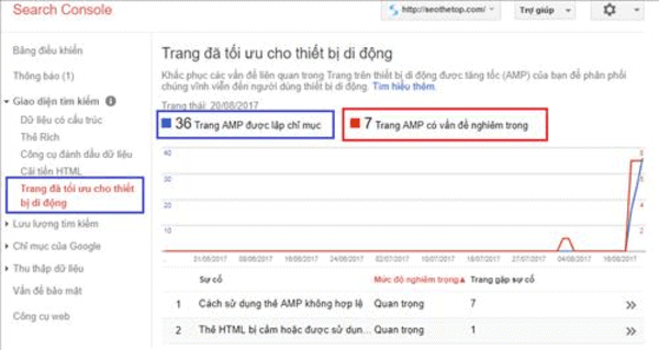 Lỗi AMP trong Google Search Console