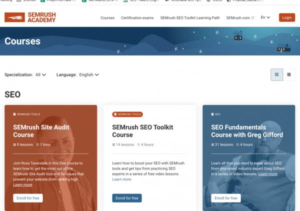 SEMrush đào tạo SEO miễn phí